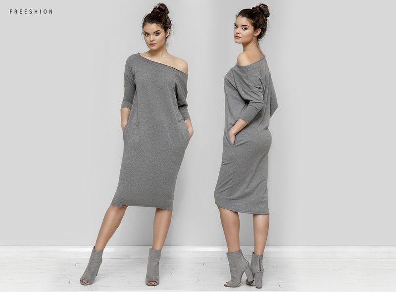 93cdfe2df5 Ida ciemno szara XL - sukienka oversize - Freeshion - Sukienki ...
