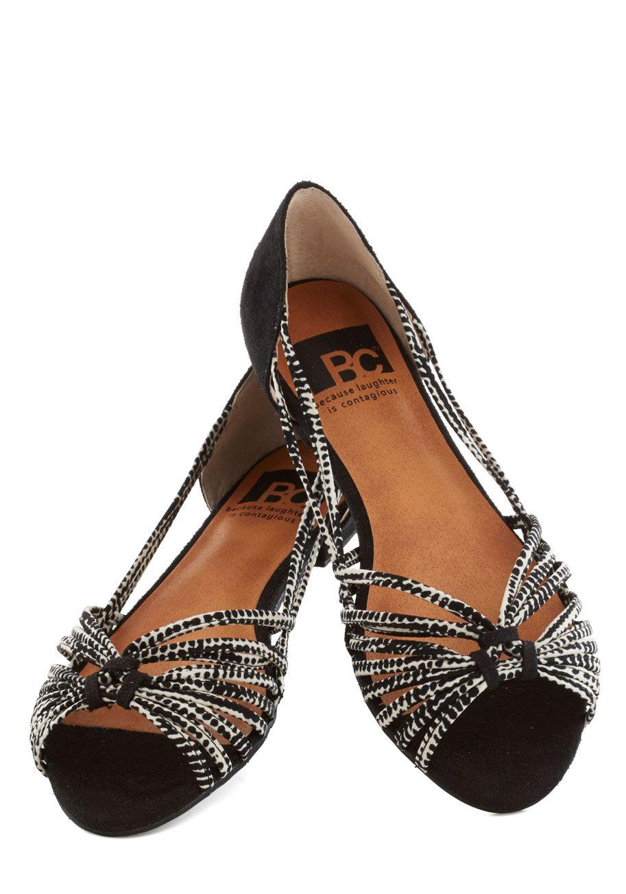 BC Shoes Cityscapes Sandal | Mod Retro Vintage Flats | $ 60 @ ModCloth.com  Vegan faux-suede leather peep-toe strappy sandals.