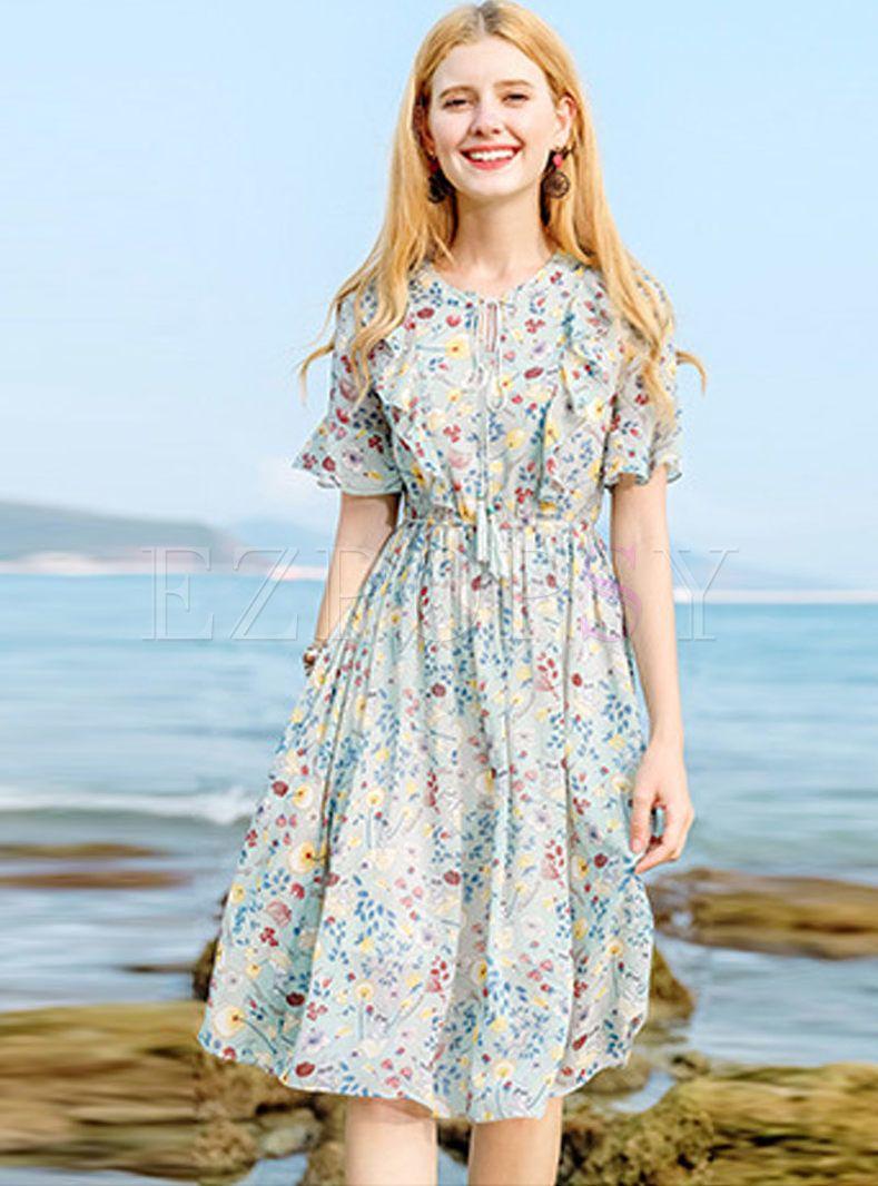 Sweet Tied Floral Print Waist Dress  Vintage floral dress