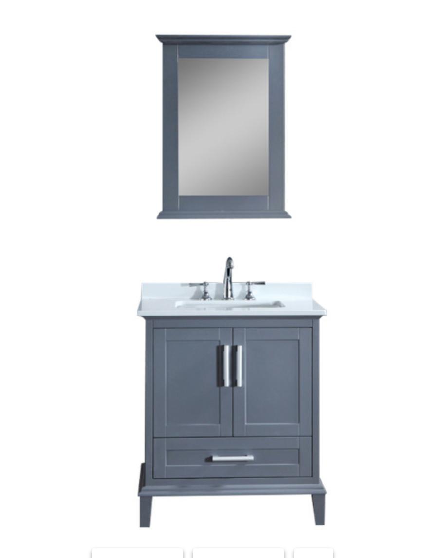 Houzz Seacliff Nantucket 30 Grey Single Sink Bathroom Vanity Set Replace Mirror And Hardware Single Sink Bathroom Vanity Bathroom Sink Vanity Vanity
