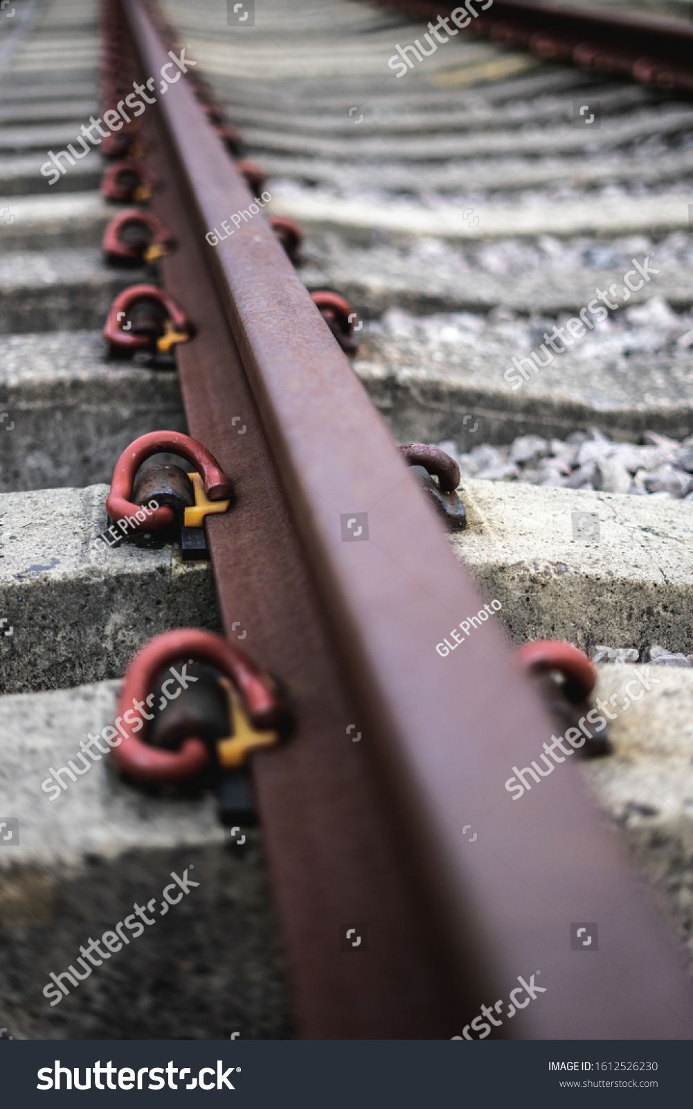 a close up of an iron railway track with the focus on the middle section