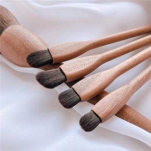 Photo of Wooden makeup brushes set   Vegan brush set kit   Soft and fluffy beauty brush