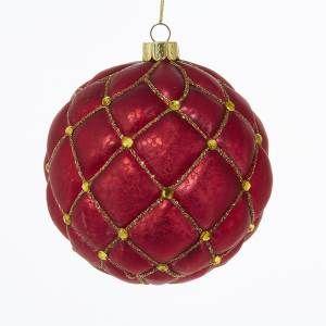 GLASS RED W/GOLD JEWELS BALL ORNAMENT