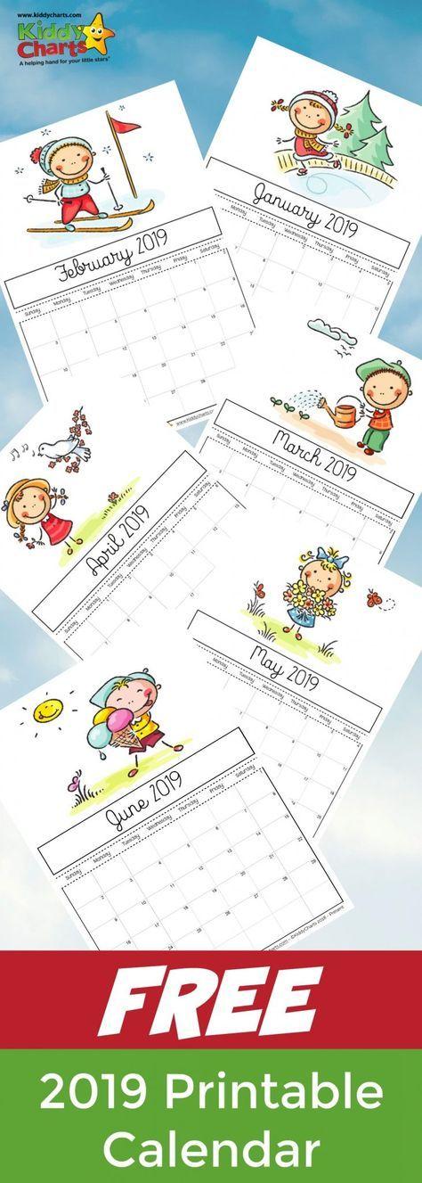 Free printable 2019 calendar for kids Work Flow Pinterest Kids