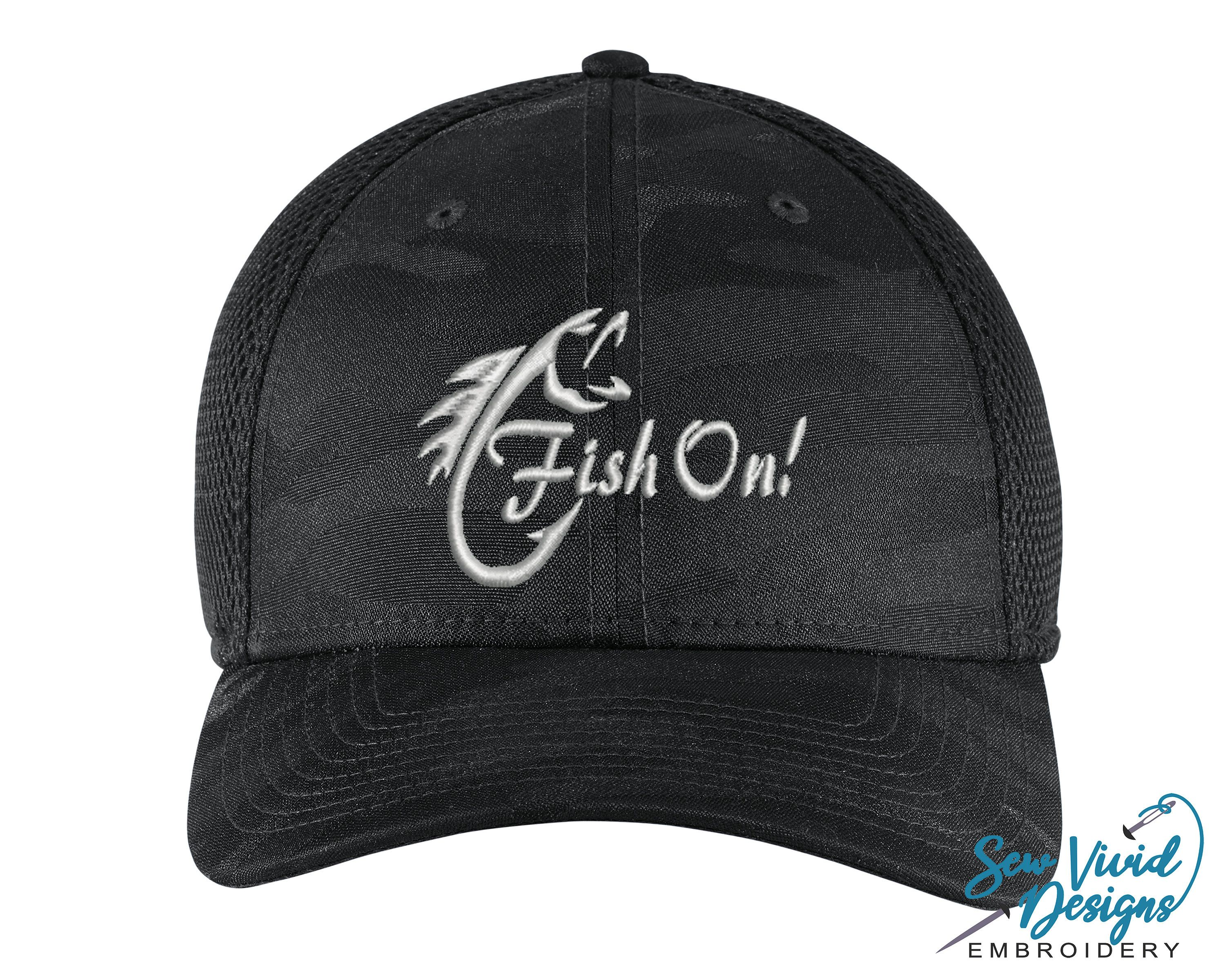 Fish On Hat Custom Embroidered Fitted Hat Fishing Hat Bass Fishing Gift Gift For Fisherman Angler Fis In 2021 Fitted Hats Custom Embroidered Hats Fishing Hat