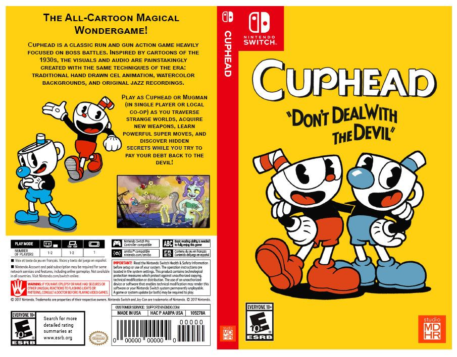 Cuphead Custom Nintendo Switch Art Cover W Game Case Nintendo Switch Nintendo Switch