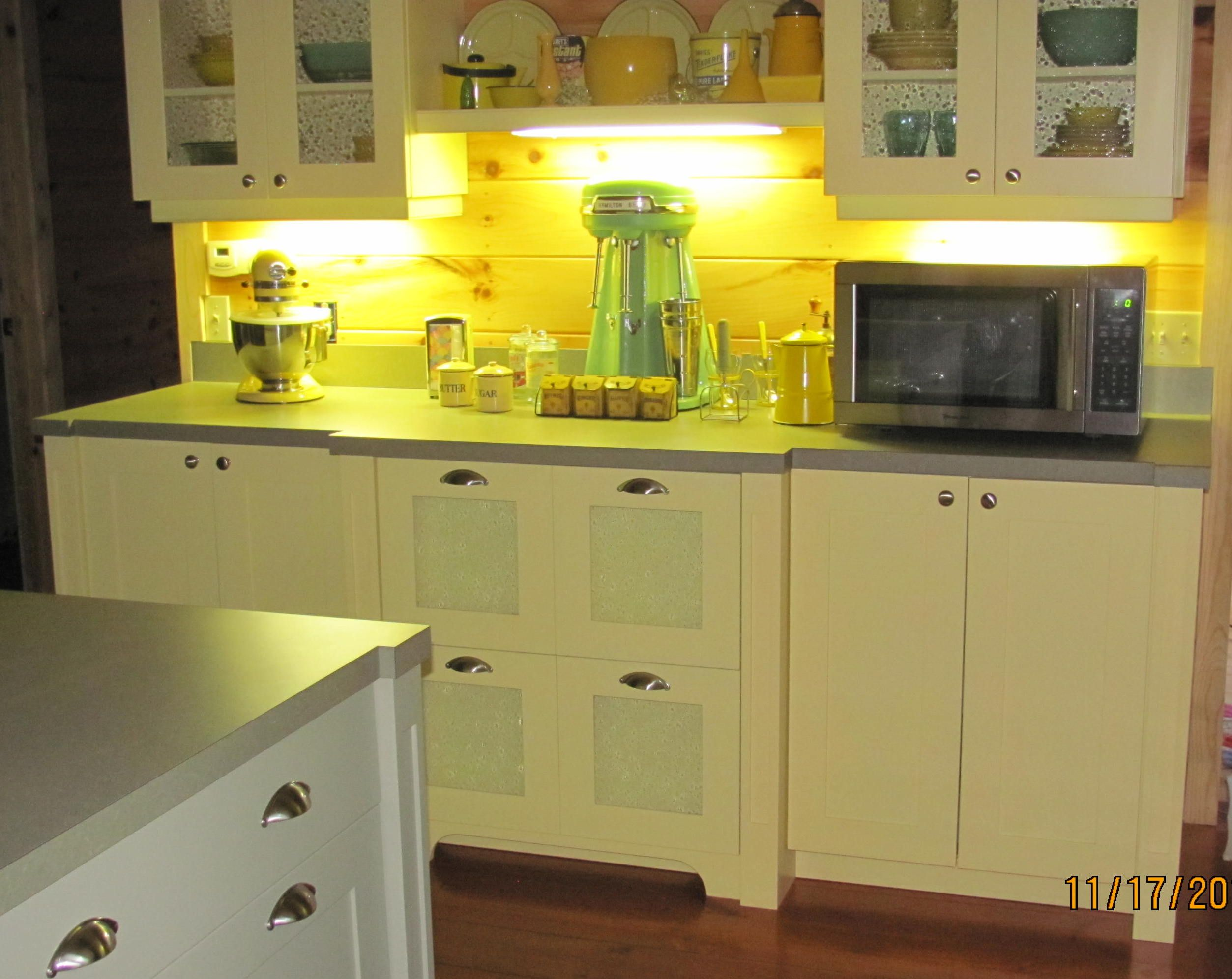 Glass In The Cabinet Doors Now, Under Counter Lighting Installed. Custom  Yellow And Green