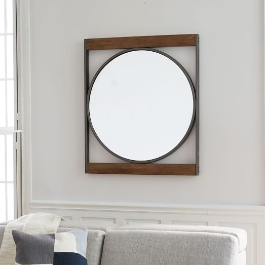 Industrial Metal Wood Round Wall Mirror Round Wall Mirror Mirror Wall Wood Wall Mirror Wood and metal mirror