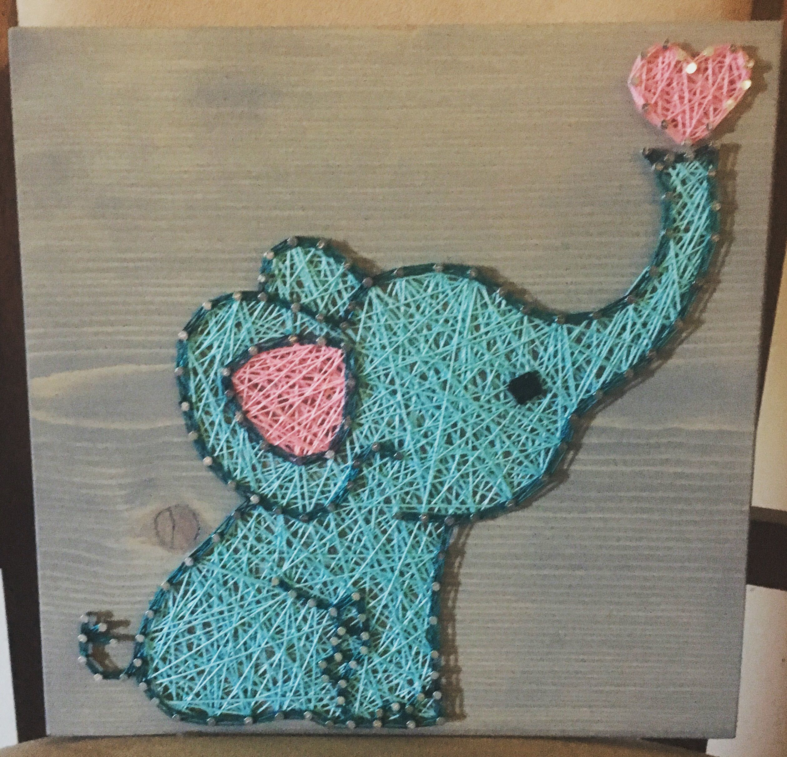 CUSTOM - Elephant String Art Sign, Baby Elephant, Love Art, Handmade ...