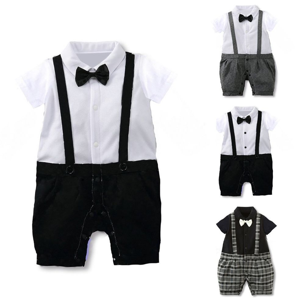 706728b436b4c Newborn Infant Kids Baby Boy Gentleman Romper Jumpsuit Bodysuit ...