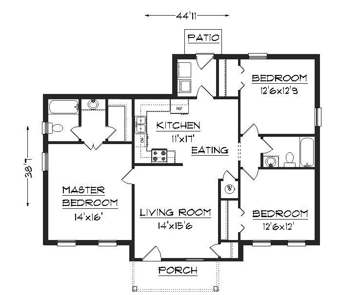 Three bedroom small house plans google search home for 3 bathroom house plans