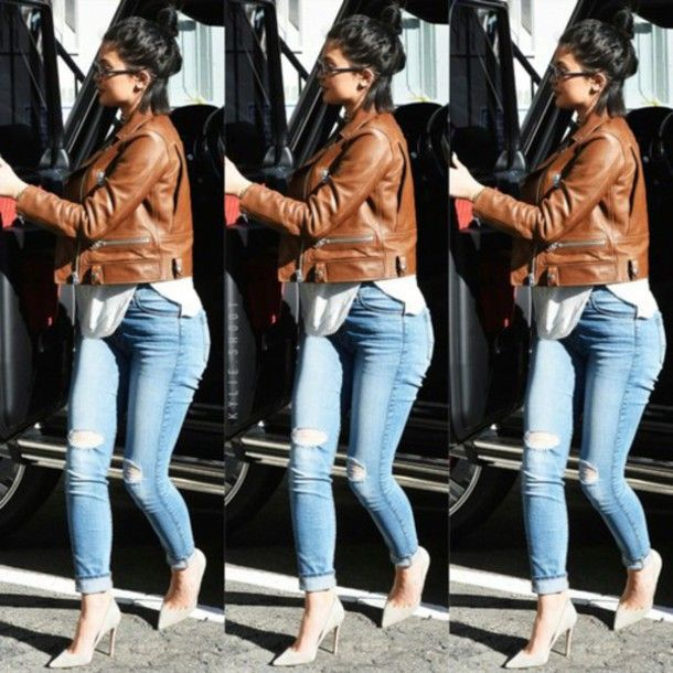 b249a546036 jacket leather jacket ripped jeans heels cute outfits kylie jenner ...