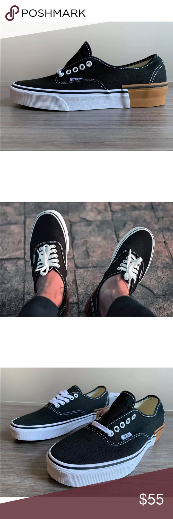 6fc1b522d8274d Vans Men s Authentic Gum Block Black NEW VANS AUTHENTIC SKATE SHOES SIZE  MEN S 11 M(MEDIUM) COLOR GUM BLOCK BLACK WHITE Vans Shoes Sneakers