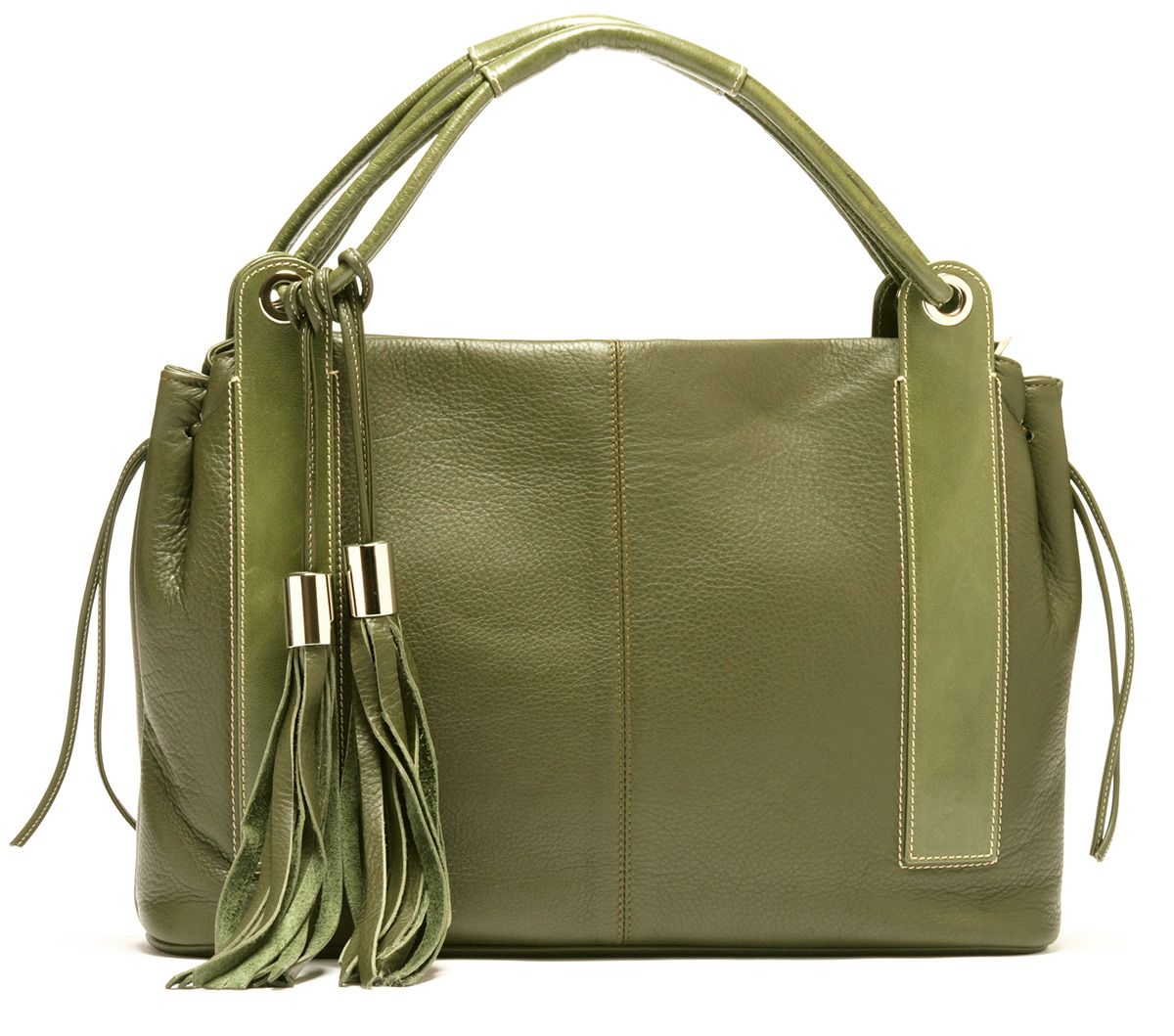 Roma Italian Handbag With Tassels In Olive Green At Zia Moda