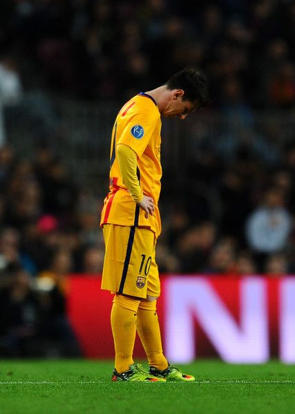 Lionel Messi of Barcelona looks dejected during the UEFA Champions League quarter final first leg match between FC Barcelona and Club Atletico de Madrid at Camp Nou on April 5, 2016 in Barcelona