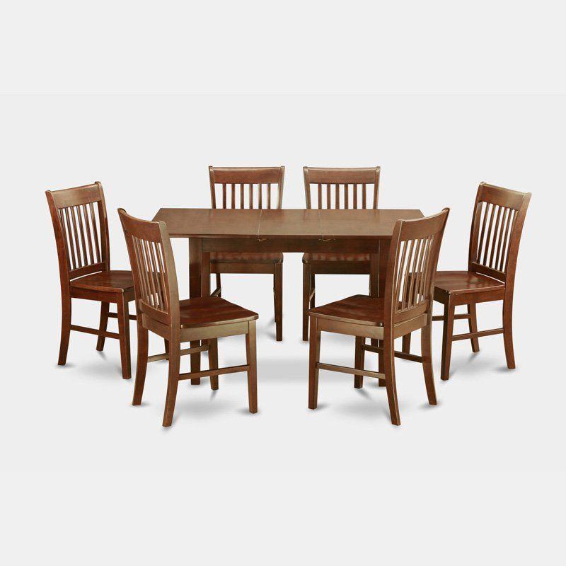 East West Furniture Norfolk 7 Piece Slat Back Dining Table Set