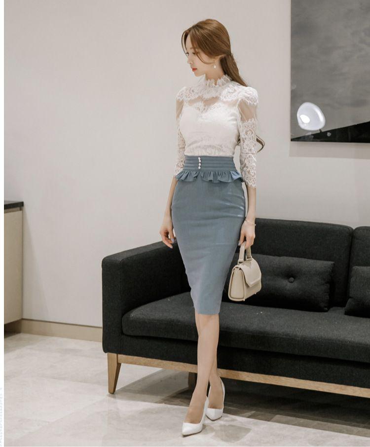 2 unidades set Faldas y tops 2017 blusa de Encaje Sexy de las mujeres  falbala Faldas Slim fit trajes de señoras de la alta cintura traje twinset  niñas en ... 35acdb2d4f7