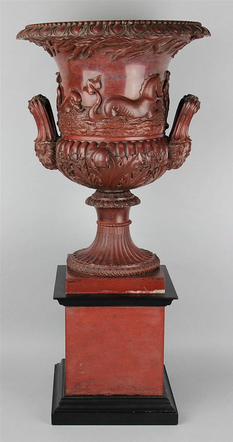 Sold Price Benedetto Boschetti Italian Rosso Antico Large Campana Urn On Stand October 6 0114 10 00 Am Edt Stone Vase Urn Urn Vase