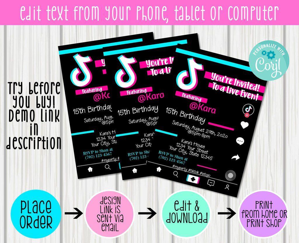 Tiktok Invitation 5x7 Edit Print Yourself Invitations Print 5x7