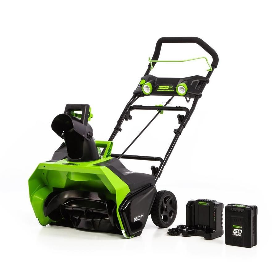 Greenworks Pro 60 Volt 20 In Single Stage Push Cordless Electric Snow Blower 1 Battery Included Sn60l611 In 2020 Electric Snow Blower