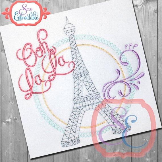 EIFFEL TOWER Ooh La La Design For Machine Embroidery - Instant ...