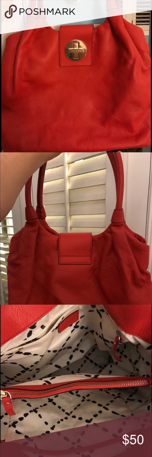 Kate Spade red leather shoulder bag It's a big bag! There are two main areas in the bag with a compartment the full length of the bag in the middle. It's been gently used and is still in great condition. kate spade Bags Shoulder Bags