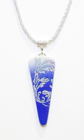polymer clay pendant blue to white with glitter and embossing