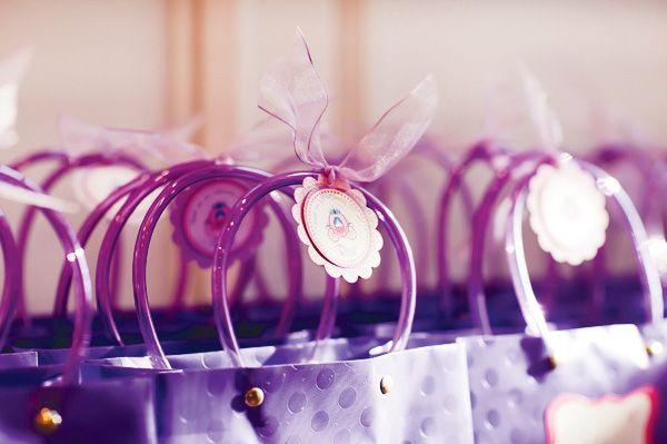 pink & purple princess party favors