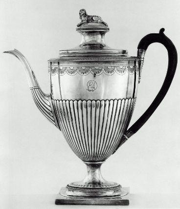 Silver Coffeepot with Ebonized Wood Handle, 1800-01. Richard Cook. Museum of Fine Arts, Boston.