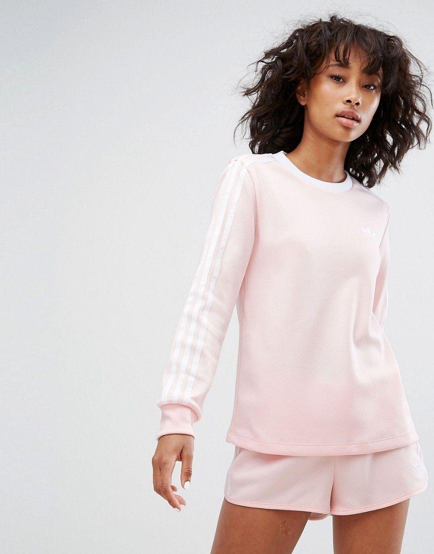 Adidas Originals Adidas Three Stripe Long Sleeve Top In Pale Pink