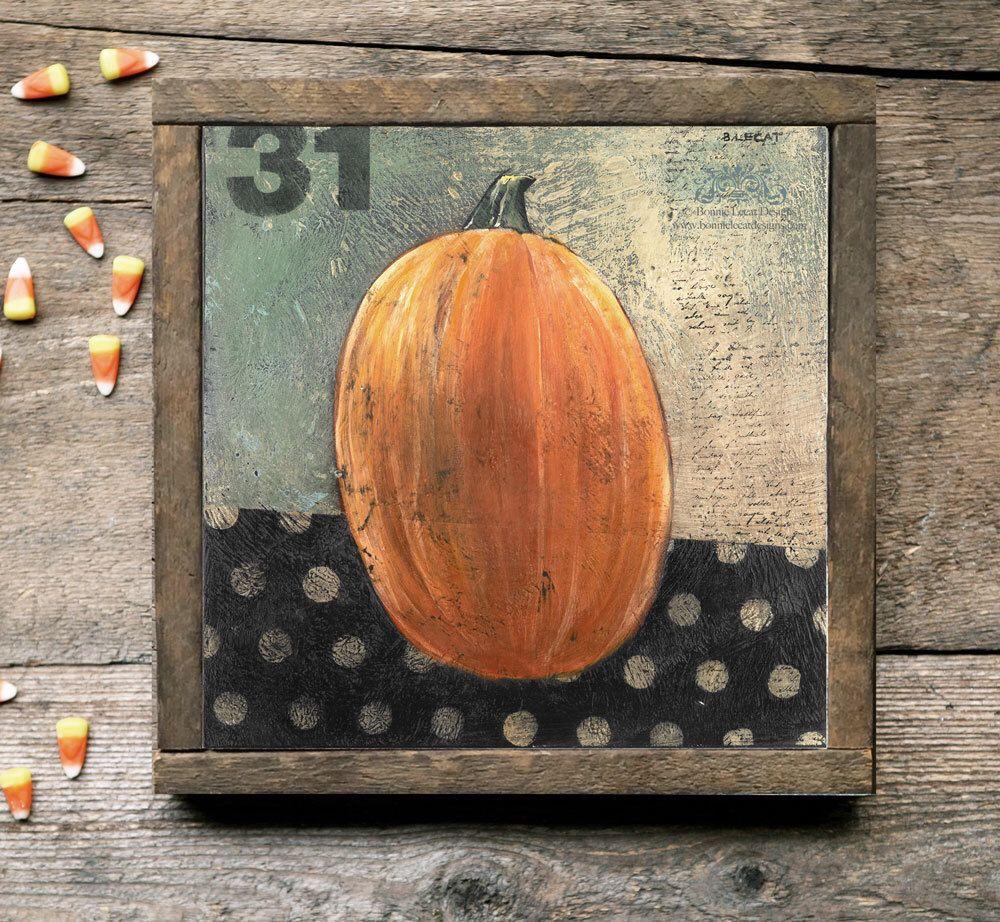 Halloween Art, Pumpkin Pictures, Rustic Pumpkin Wood Sign