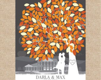 Wedding Tree & Kissing Couple Silhouette Guest by AlicesStudio