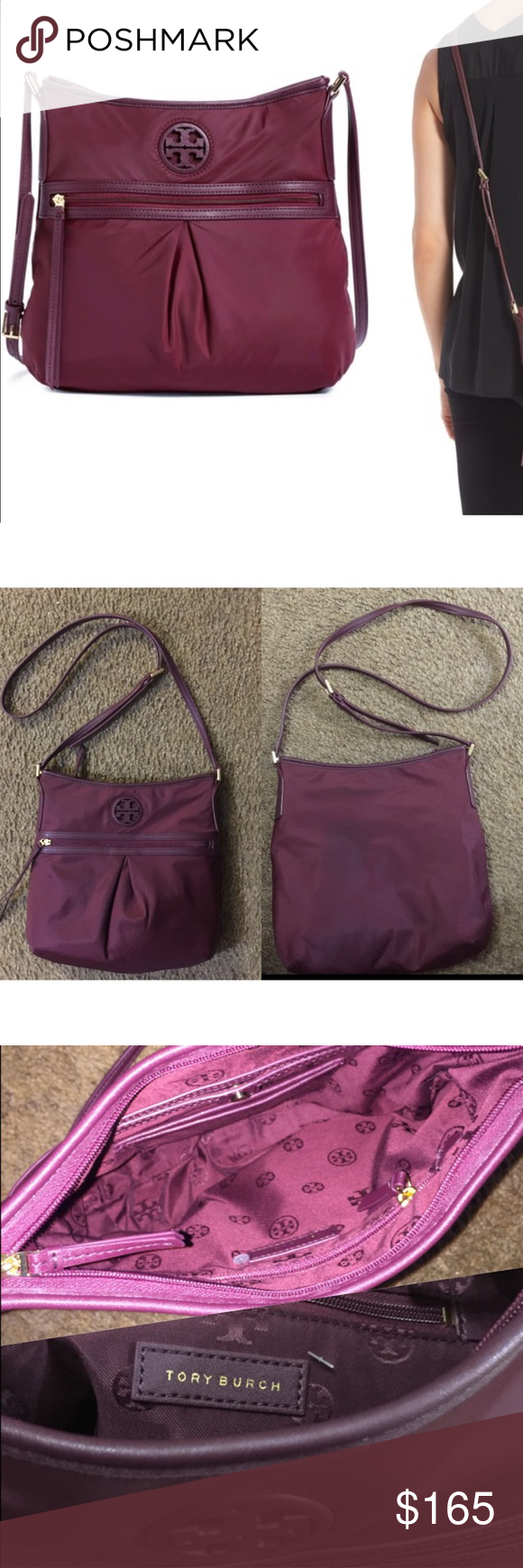 """Tory Butch ella nylon swingpack With its sport-inspired silhouette, durable webbed strap and nylon construction, this swingpack from Tory Burch is sure to become a go-to favorite in your collection. Worn once, like new. 11 ½""""W x 10""""H x 2 ¾""""D. (Interior capacity: small.)21 ¼"""" - 23 ½"""" crossbody strap drop. .5 lbs.Top zip closure. Adjustable crossbody strap. Exterior zip pocket. Interior zip pocket. Lined. Nylon. By Tory Burch; imported. Handbags. Msrp Nordstrom $225.00, selling it for $165…"""