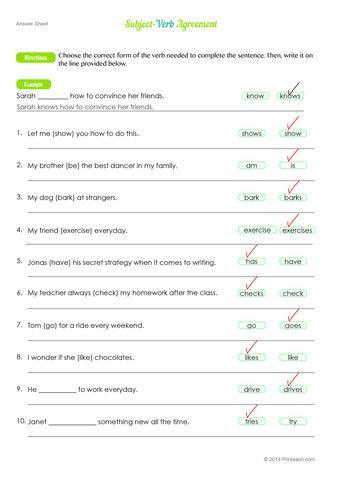 Free Subject Verb Agreement Worksheet Printeach Esl Language
