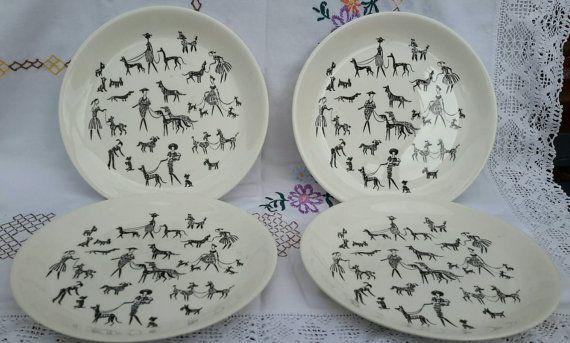 4 Large Dinner Plates  Alfred Meakin  Rare Dog Walker