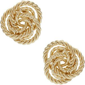 Gold Rope Knot Stud. I need something like this so badly. Ive been searching for gold studs with some flare