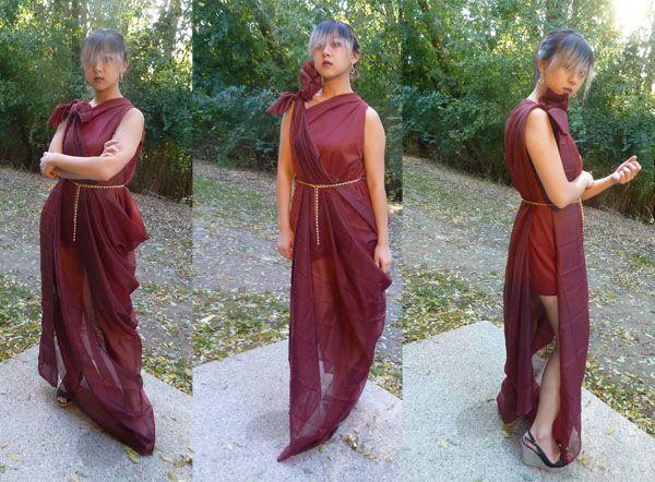 DIY Costume Tutorial No-Sew Draped Goddess Gown Grecian goddess - no cost halloween costume ideas