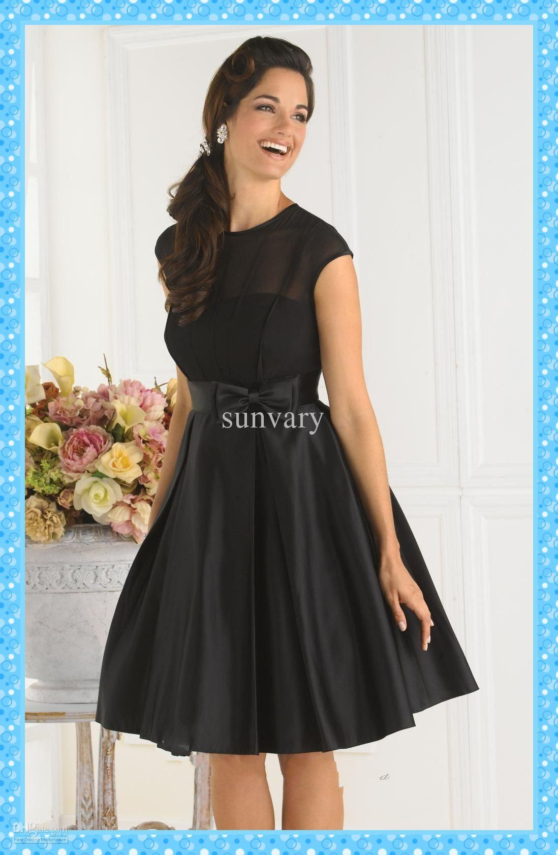 Wholesale Simple Cheap Black Cocktail Dress A-line Jewel Cap Sleeves Knee  Length Bow Satin Party Dresses 60a487d8db61