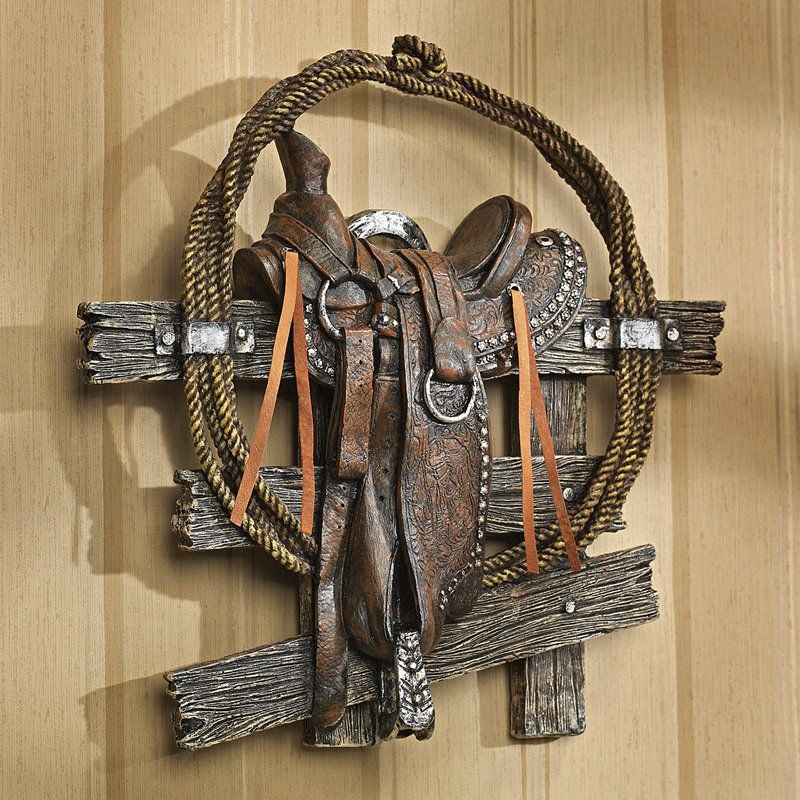 Design toscano saddle up western wall sculpture
