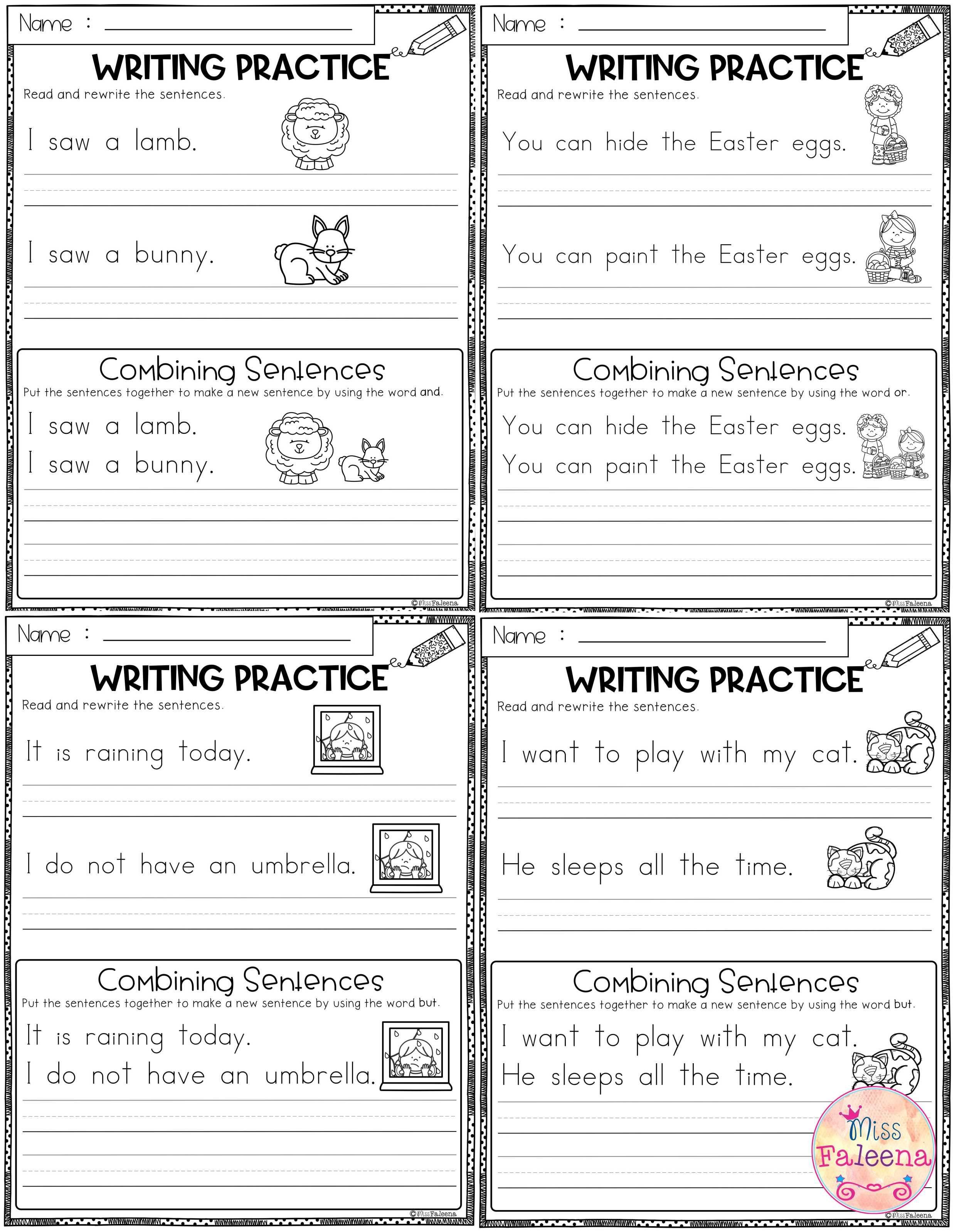 April Writing Practice Combining Sentences