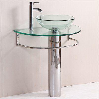 Kokols 24 Bathroom Vanity Set kokols wf-01 modern bathroom vanity pedestal glass bowl vessel