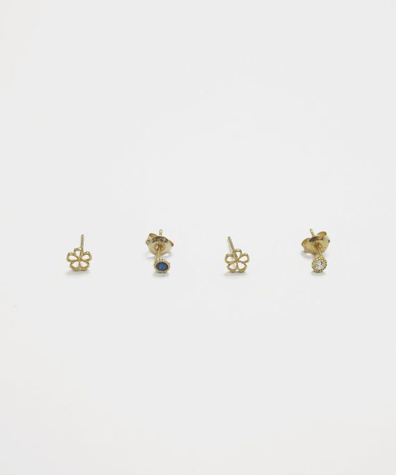 SET tiny stud gold earrings4 setsterling by leahandkatejewelry