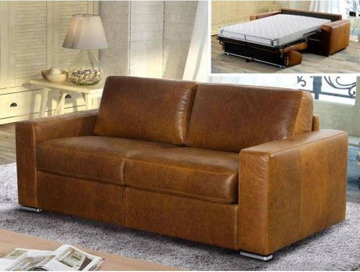 Schlafsofa Leder Vintage Look Express Bettfunktion Mit Matratze 3 Sitz Sofa Vintage Sofa Modern Couch
