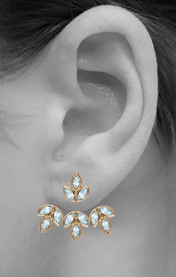 Romy Aquamarine Ear Jacket Earrings