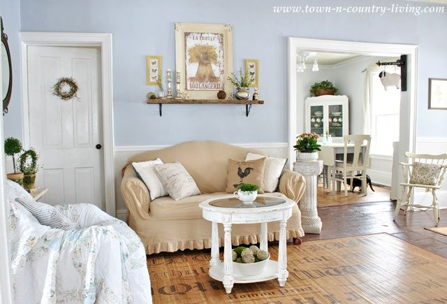 Town and countrys farmhouse entryway living room dining