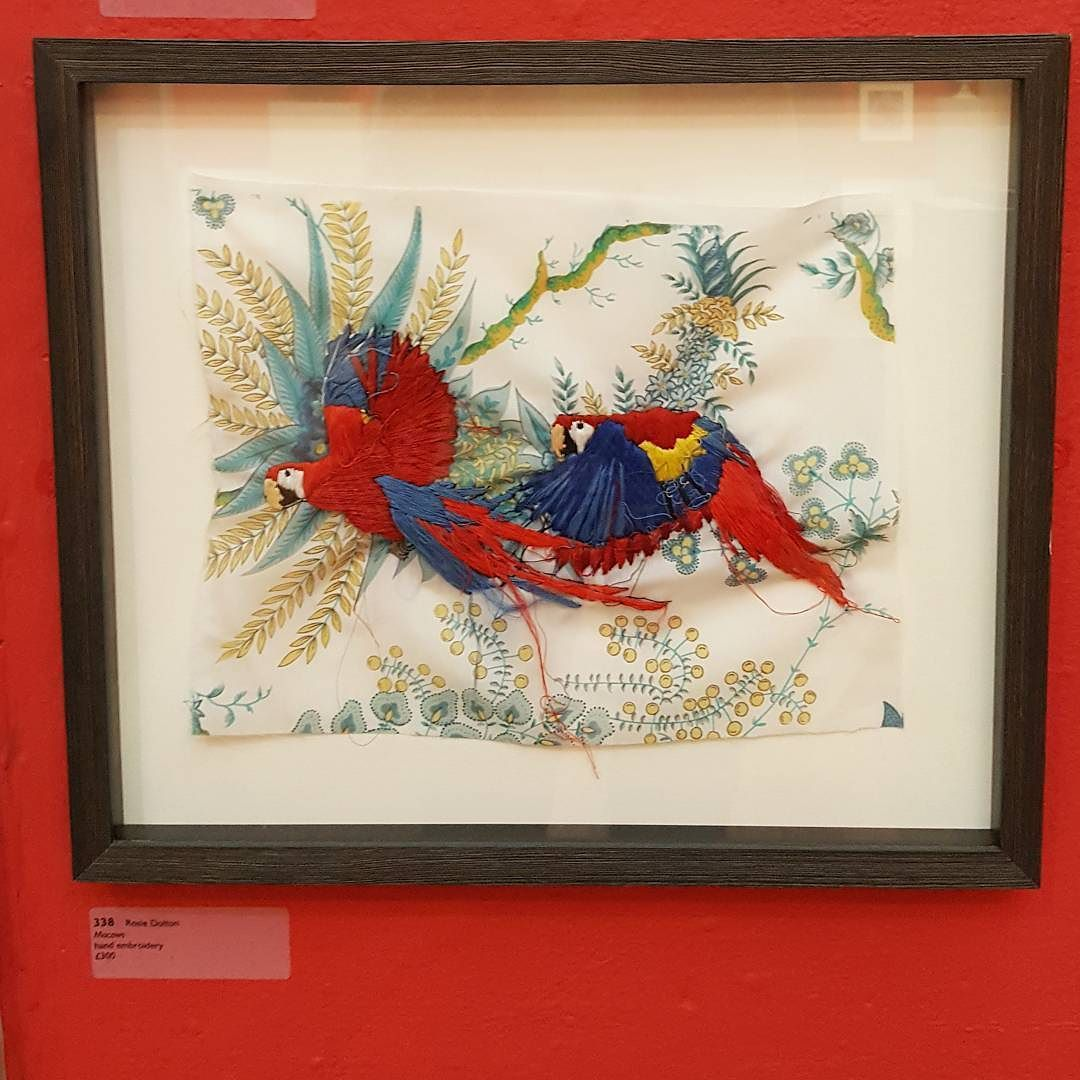 Just one more week to see my work at the #164rwa at the @rwabristol don't miss this fantastic show! #macaws #art #rosiedoltonartist #textileartist #bristolartist #gallery
