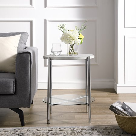 Lola Faux White Marble Chrome End Table By Bellamy Studios Walmart Com White Marble Marble End Tables End Tables