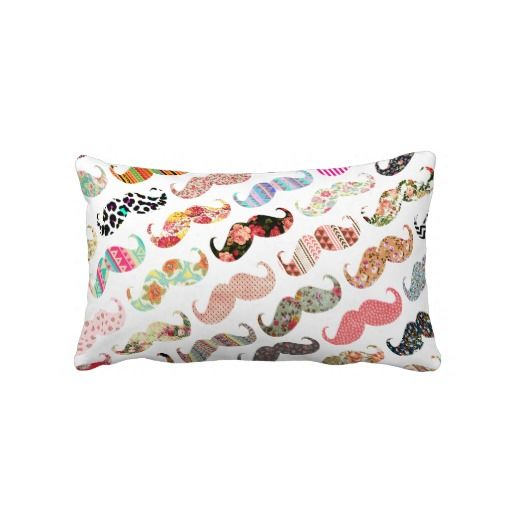 Funny Girly Colourful Patterns Moustaches Throw Pillows Cool Fascinating Girly Decorative Pillows