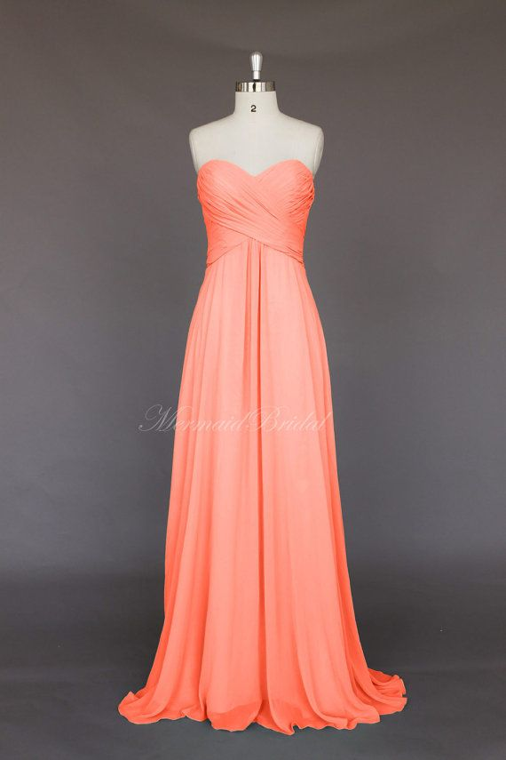 Salmon Simple Style Chiffon Long Bridesmaid Dress Gown Wedding Party With Sweetheart Neckline