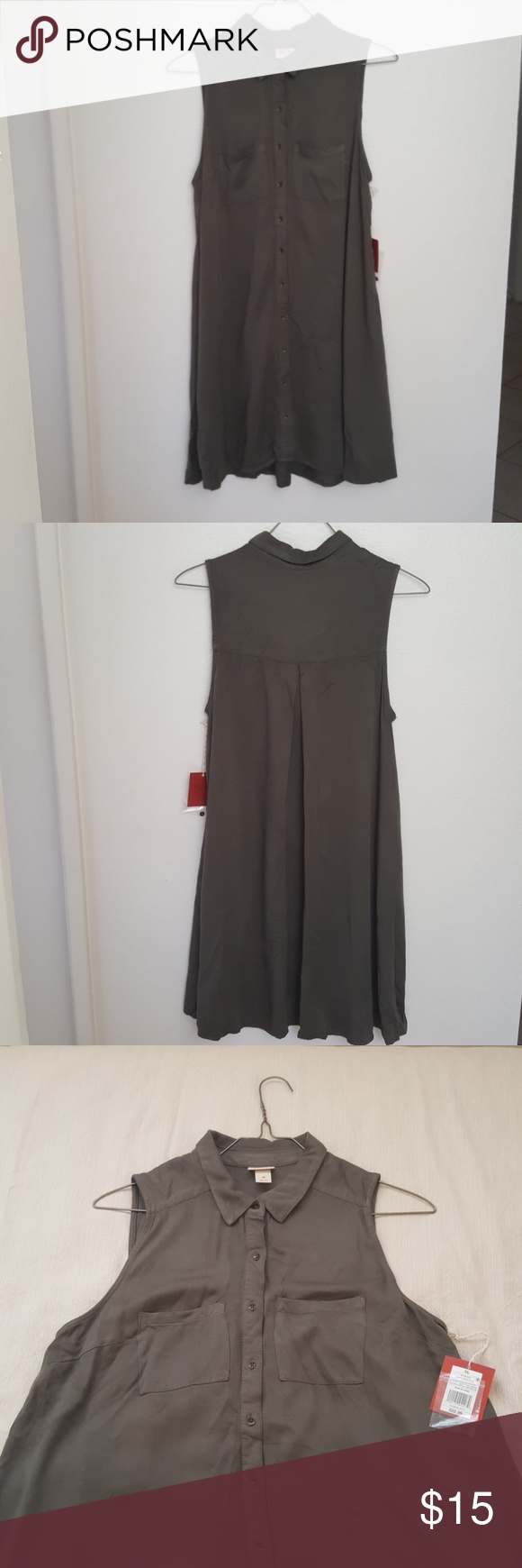 Army green flowy midi dress nwt my posh picks pinterest flowy